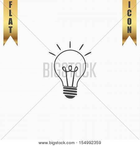 Light lamp sign. Flat Icon. Vector illustration grey symbol on white background with gold ribbon
