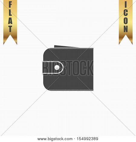 Simple wallet. Flat Icon. Vector illustration grey symbol on white background with gold ribbon