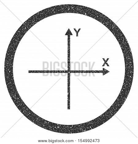 Coordinate Axis rubber seal stamp watermark. Icon symbol inside circle frame with grunge design and corrosion texture. Scratched vector gray ink emblem on a white background.