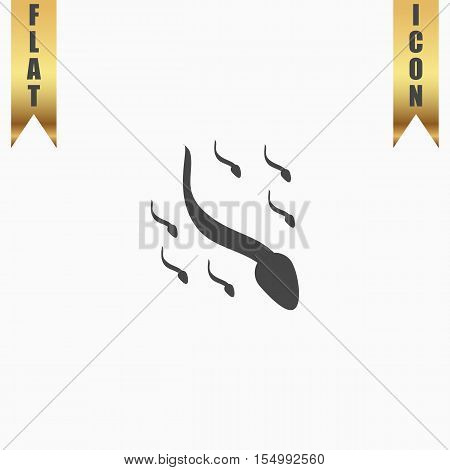 Group sperm swimming. Flat Icon. Vector illustration grey symbol on white background with gold ribbon