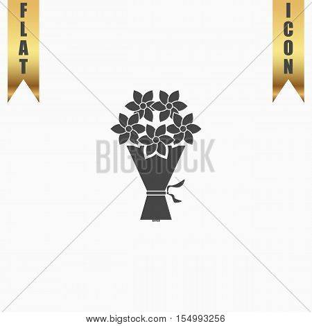 Cute bouquet of flowers. Flat Icon. Vector illustration grey symbol on white background with gold ribbon