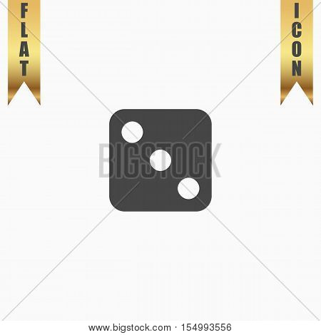 One dices - side with 3. Flat Icon. Vector illustration grey symbol on white background with gold ribbon