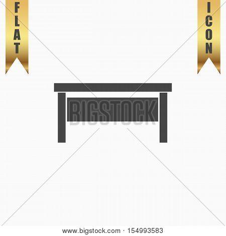 Writing desk. Flat Icon. Vector illustration grey symbol on white background with gold ribbon