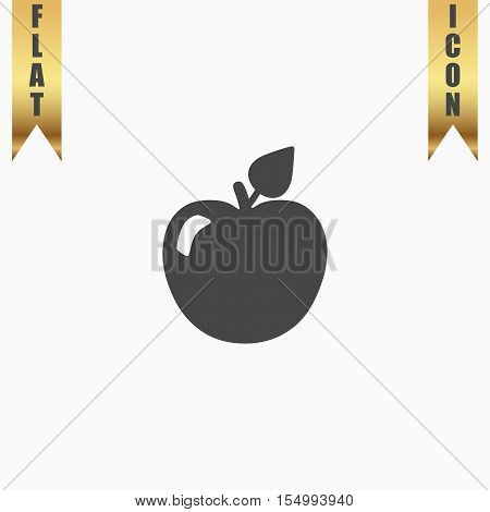 Apple with leaf. Flat Icon. Vector illustration grey symbol on white background with gold ribbon