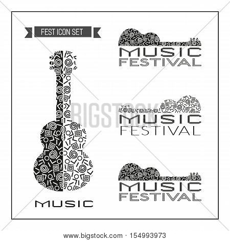 Template Design set of doodle acoustic guitar silhouettes. Vintage music logo. Black white musical instrument icon. Freehand drawn sketch with Memphis pattern. Vector illustration