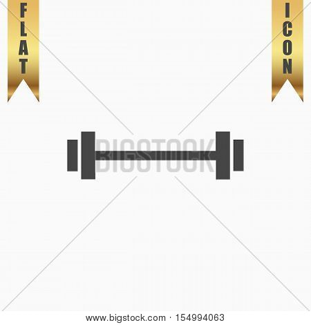 Simple Barbell. Flat Icon. Vector illustration grey symbol on white background with gold ribbon