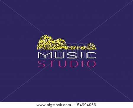 Music icon concept. Musical studio logo design template in modern swiss style. Acoustic guitar silhouette. Memphis pattern. Abstract musical instrument symbol banner background. Vector illustration