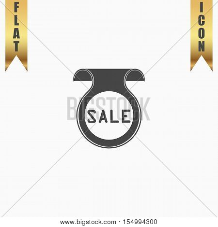 Bookmark with Sale message. Flat Icon. Vector illustration grey symbol on white background with gold ribbon