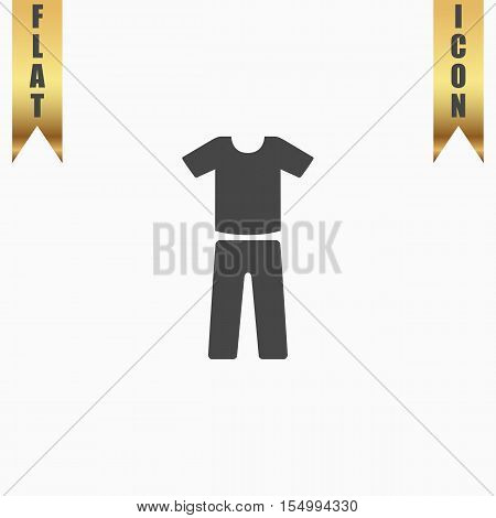 Uniform - pants and t-shirt. Flat Icon. Vector illustration grey symbol on white background with gold ribbon