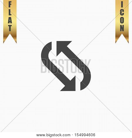 Repetition arrow. Flat Icon. Vector illustration grey symbol on white background with gold ribbon