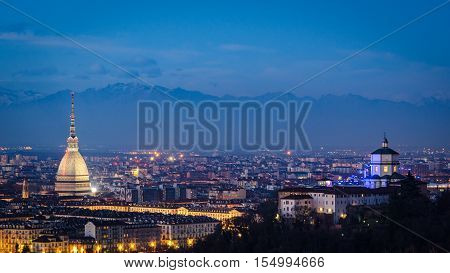 Turin (Torino) high definition panorama with Mole Antonelliana and Monte dei Cappuccini
