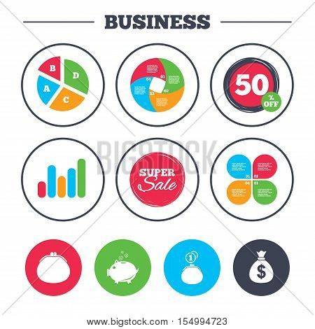 Business pie chart. Growth graph. Wallet with cash coin and piggy bank moneybox symbols. Dollar USD currency sign. Super sale and discount buttons. Vector