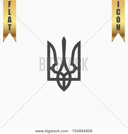 Trident. Flat Icon. Vector illustration grey symbol on white background with gold ribbon