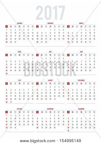 Calendar for 2017. Week Starts Sunday. Set of 12 Months. Simple Vector Template.