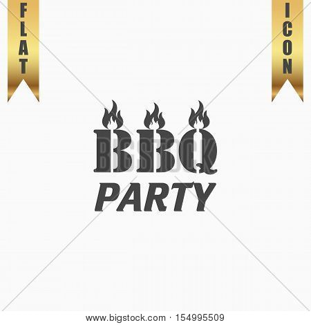 Flaming BBQ Party word design element. Flat Icon. Vector illustration grey symbol on white background with gold ribbon