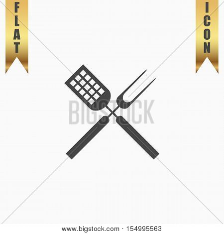 Barbecue utensils. Flat Icon. Vector illustration grey symbol on white background with gold ribbon