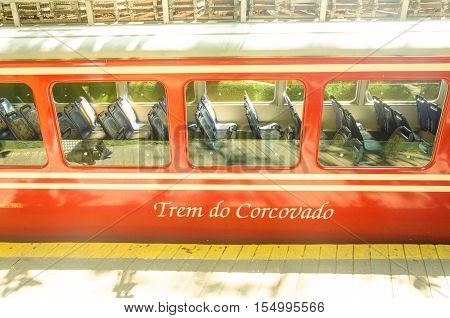 RIO DE JANEIRO BRAZIL - MARCH 07 2016: Corcovado Train transporting tourists daily to the statue Christ the Redeemer.