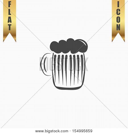 Glass of beer with foam. Flat Icon. Vector illustration grey symbol on white background with gold ribbon