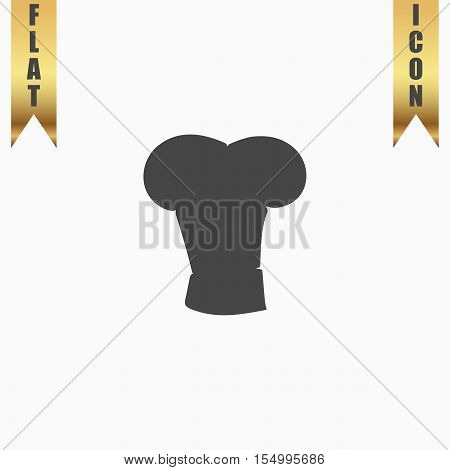 Big chef hat. Flat Icon. Vector illustration grey symbol on white background with gold ribbon