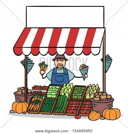 Cartoon farmer selling fresh fruits and vegetables on market stand