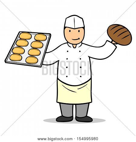 Cartoon baker holding buns and bread in his hands