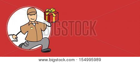 Parcel delivery man with christmas gift offering fast delivery