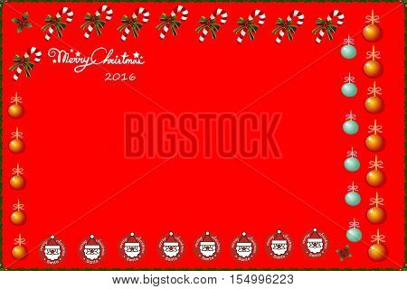 Illustrated greeting card, merry christmas 2016, red background. space for text.