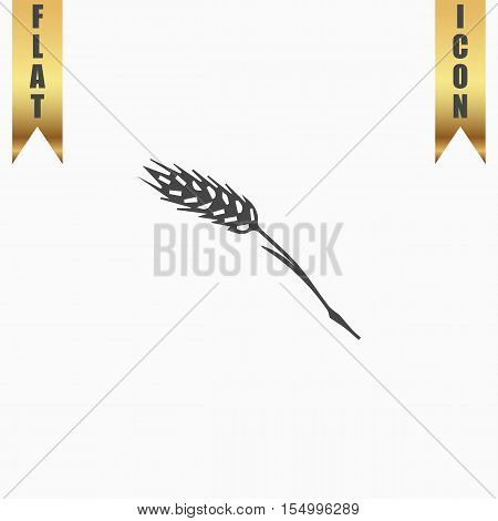 Spica. Flat Icon. Vector illustration grey symbol on white background with gold ribbon