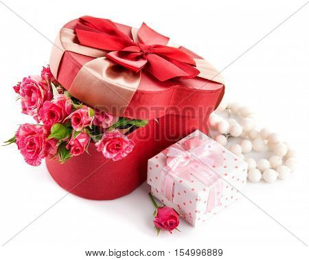 Gift with bunch roses on valentines day. Isolated white background