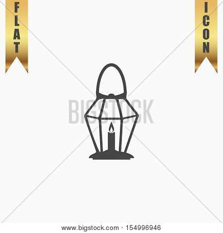 Lantern. Flat Icon. Vector illustration grey symbol on white background with gold ribbon