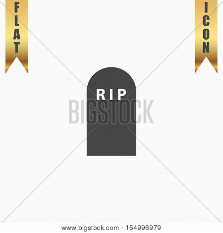 Grave. Flat Icon. Vector illustration grey symbol on white background with gold ribbon