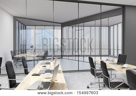 Office With Rows Of Tables And Ceo Study