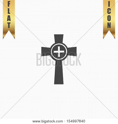 Tombstone - cross gravestone. Flat Icon. Vector illustration grey symbol on white background with gold ribbon