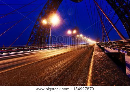 MOSCOW, RUSSIAN FEDERATION - November 4, 2016: Picturesque bridge over Moscow river. It is the first cable-stayed bridge in Moscow, opened on 27 December 2007 as a part of Krasnoprenensky avenue.