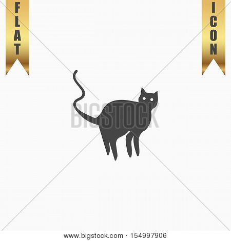 Evil Cat silhouette. Flat Icon. Vector illustration grey symbol on white background with gold ribbon