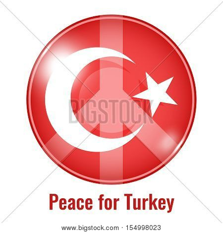 Round sign peace for Turkey, colored vector illustration