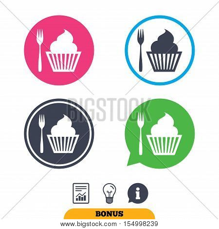 Eat sign icon. Dessert trident fork with muffin. Cutlery symbol. Report document, information sign and light bulb icons. Vector