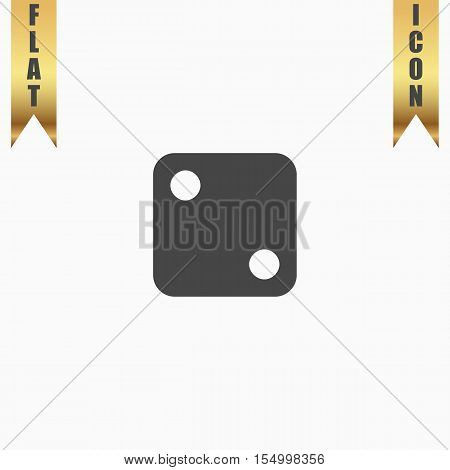 One dices - side with 2. Flat Icon. Vector illustration grey symbol on white background with gold ribbon