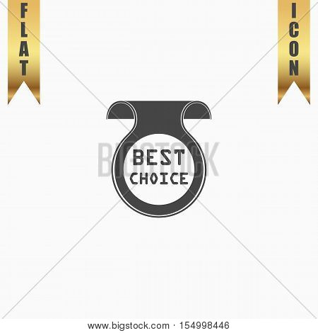 Bookmark with Best Choice message. Flat Icon. Vector illustration grey symbol on white background with gold ribbon