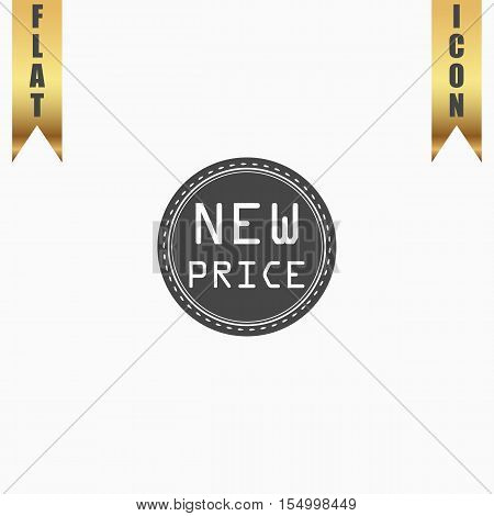 New Price Badge, Label or Sticker. Flat Icon. Vector illustration grey symbol on white background with gold ribbon