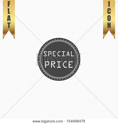 Special Badge, Label or Sticker. Flat Icon. Vector illustration grey symbol on white background with gold ribbon