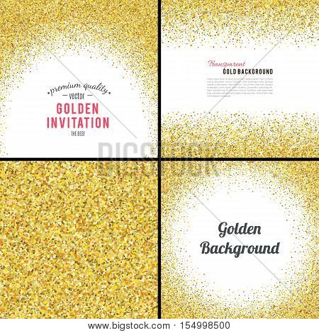 Gold glitter texture isolated on white background. Vector illustration for golden shimmer background. Sparkle sequin tinsel yellow bling