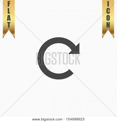 Rotation Arrow. Flat Icon. Vector illustration grey symbol on white background with gold ribbon