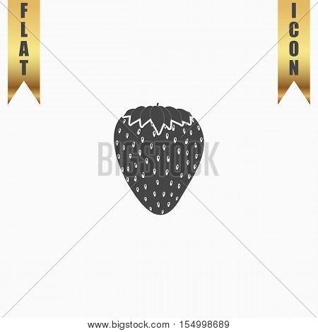 Strawberry. Flat Icon. Vector illustration grey symbol on white background with gold ribbon