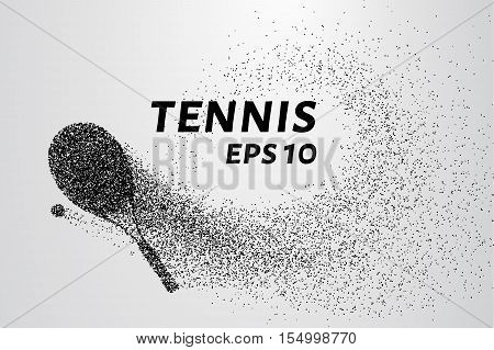 Tennis of particles. Tennis racket and ball are composed of small circles and dots.