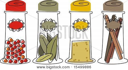 Cooking herbs and spices bottles