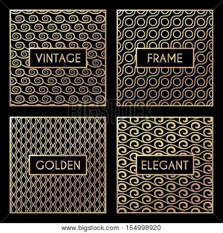 Golden vintage pattern on black background. Vector illustration for retro design. Gold abstract frame. Stylish decorative label set. Art decoration texture Linear elegant luxury foil Victorian fashion