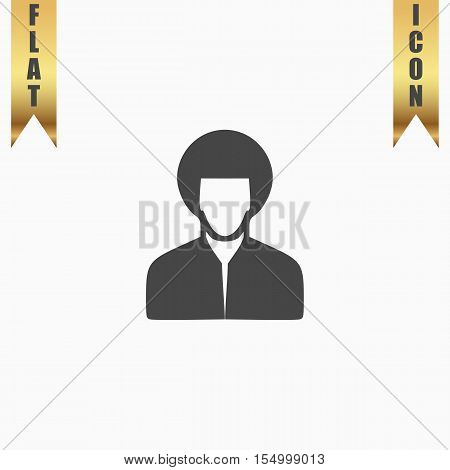 Hippi man. Flat Icon. Vector illustration grey symbol on white background with gold ribbon