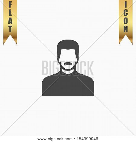 Man with Mustache. Flat Icon. Vector illustration grey symbol on white background with gold ribbon