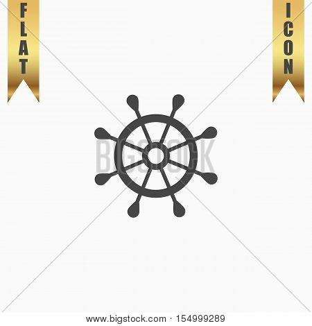 Simple rudder. Flat Icon. Vector illustration grey symbol on white background with gold ribbon